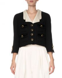 Marc Jacobs Contrast-Lapel Boucle Crop Blazer at Neiman Marcus
