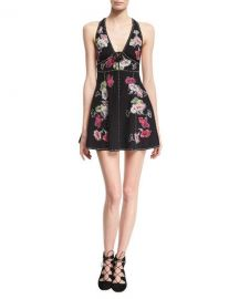Marc Jacobs Floral-Embroidered Sleeveless Fit  amp  Flare Minidress  Black at Neiman Marcus