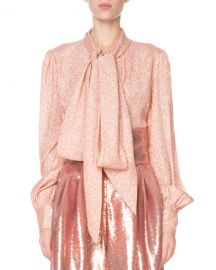 Marc Jacobs Shimmer Tie-Neck Blouse at Neiman Marcus