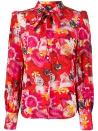 Marc Jacobs Tie Neck Floral Print Silk Blouse - Farfetch at Farfetch