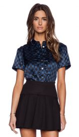 Marc by Marc Jacobs Checkerboard Satin Blouse in Black Multi  REVOLVE at Revolve