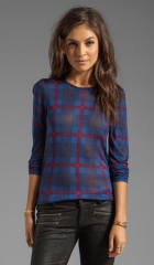 Marc by Marc Jacobs Sheer Plaid Jersey Long Sleeve in Prairie Indigo Multi  REVOLVE at Revolve