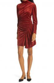 Marcel Long Sleeve Ruched Velvet Minidress at Nordstrom