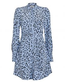 Marcella Zip-Front Silk Leopard Dress at Intermix