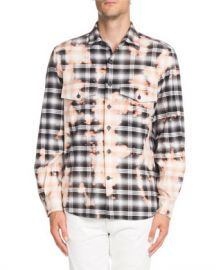 Marcelo Burlon Bleach-Distressed Plaid Shirt at Neiman Marcus
