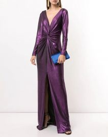 Marchesa Notte Long Sleeve Metallic Gown at Verishop