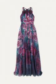 Marchesa Notte - Appliqu  d pleated floral-print chiffon gown at Net A Porter
