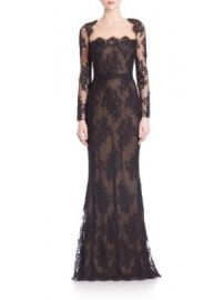 Marchesa Notte - Embroidered Lace Illusion Neckline Gown at Saks Fifth Avenue