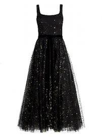 Marchesa Notte - Glitter Tulle Sleeveless Dress at Saks Fifth Avenue