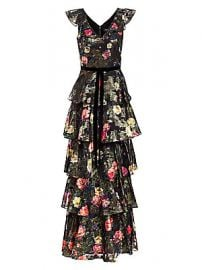 Marchesa Notte - Metallic Floral Printed Tiered A-Line Gown at Saks Fifth Avenue