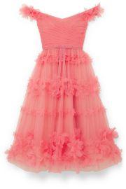 Marchesa Notte - Off-the-shoulder velvet-trimmed appliqu  d tulle dress at Net A Porter