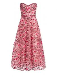 Marchesa Notte - Strapless Sweetheart Embroidered Floral Tulle A-Line Dress at Saks Fifth Avenue