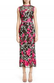 Marchesa Notte Floral Embroidered Crochet Midi Sheath Dress   Nordstrom at Nordstrom