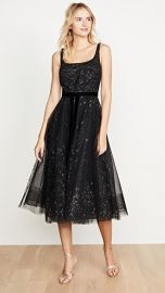 Marchesa Notte Glitter Tulle Tea Length Gown at Shopbop