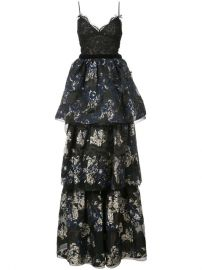 Marchesa Notte Layered Skirt Evening Dress - Farfetch at Farfetch