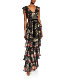 Marchesa Notte Metallic Printed V-Neck Sleeveless Tiered Fil Coupe Ruffle Gown at Neiman Marcus