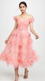 Marchesa Notte Off Shoulder Tea Length Gown at Shopbop