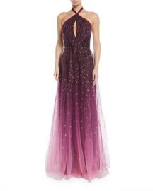 Marchesa Notte Ombre Glitter Tulle Halter Gown at Neiman Marcus