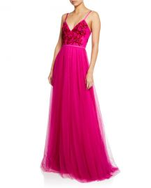 Marchesa Notte V-Neck Sleeveless Embroidered Beaded Bodice Point D  x27 Esprit Gown at Neiman Marcus
