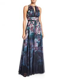 Marchesa NotteWatercolor Sleeveless Chiffon Gown with Satin Trim   Keyhole at Neiman Marcus