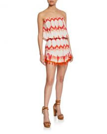 Marcie Strapless Coverup Dress with Pompoms at Last Call