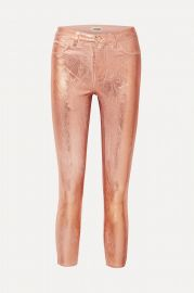 Margot metallic coated high-rise skinny jeans at Net A Porter