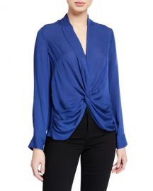 Mariposa Silk Crossover Blouse at Bergdorf Goodman