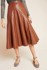 Mariska Faux Leather Midi Skirt by Maeve at Anthropologie