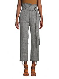 Marissa Webb - Isadora Houndstooth Linen  amp  Cotton Pants at Saks Off 5th