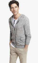 Marled Hooded Zip Front Cardigan at Express