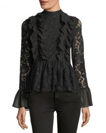 Marled by Reunited Ruffled Peplum Lace Top at Neiman Marcus