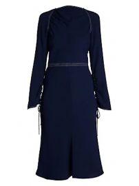 Marni - Envers Crepe Long-Sleeve Flared Dress at Saks Fifth Avenue