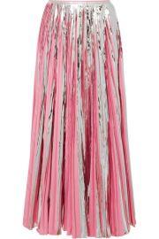Marni - Pleated metallic coated-crepe de chine midi skirt at Net A Porter