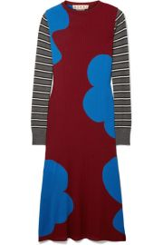 Marni   Printed ribbed wool midi dress at Net A Porter
