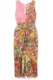 Marni - Ruched floral-print cotton-poplin midi dress at Net A Porter