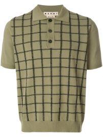 Marni Grid Check Knitted Polo Shirt at Farfetch