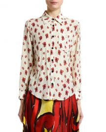 Marni Peace-Print Silk Button-Front Blouse at Neiman Marcus