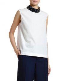 Marni Sleeveless Cotton Poplin Jewel-Neck Blouse at Neiman Marcus