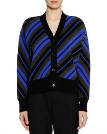 Marni V-Neck Button-Front Striped Wool Cardigan at Neiman Marcus