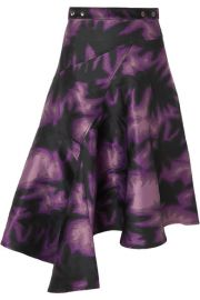 Marques  Almeida - Asymmetric printed brocade wrap midi skirt at Net A Porter