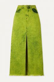 Marques  Almeida - Frayed acid-wash denim maxi skirt at Net A Porter