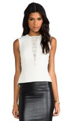 Mason by Michelle Mason Lazer Leather Peplum Top in Ivory  REVOLVE at Revolve