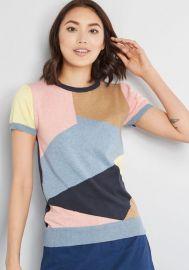 Masterful Mosaic Short Sleeve Sweater at ModCloth