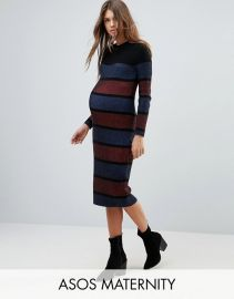 Maternity Knitted Midi Dress In Stripe by ASOS at ASOS