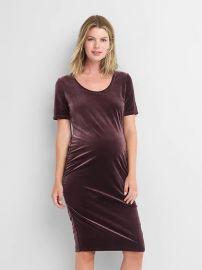 Maternity Short-Sleeve Velvet Dress by Gap at Gap