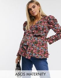 Maternity Wrap Top with Volume Sleeve in floral at Asos