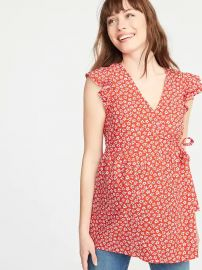 Maternity red daisy wrap top at Old Navy