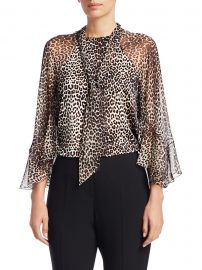Matilda Animal Print Silk Blouse at Saks Fifth Avenue