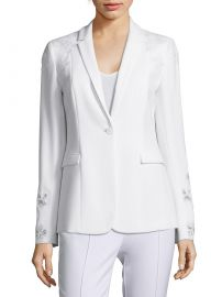 Mauricia Lace Appliqué Crepe Blazer at Saks Off 5th