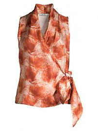 Max Mara - Pilly Silk Wrap Top at Saks Fifth Avenue